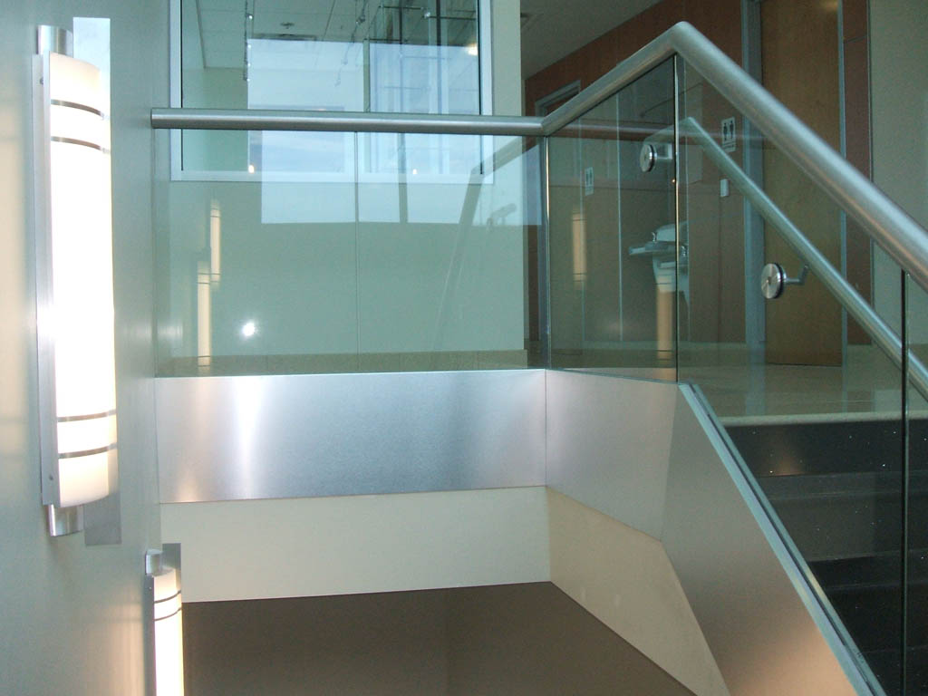Aluminum fabrication welding forming shaping rails and for Glass balcony railing