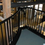 Black painted steel rail in an office in Raeder Place on the Landing
