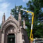 Bronze spire on Adolphus Busch mausoleum needed repair after damage from a tree after a storm 2