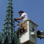 Bronze spire on Adolphus Busch mausoleum needed repair after damage from a tree after a storm 3