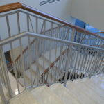 Brush finish stainless railing at Merrill Lynch offices in Clayton