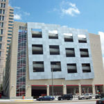 Clear anodized aluminum panels and structure at Justice Center Parking Garage in downtown St Louis 2