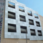 Clear anodized aluminum panels and structure at Justice Center Parking Garage in downtown St Louis