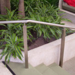 Freestanding stainless steel railing at Chesterfield mall