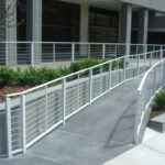 White painted aluminum railing with stainless steel cable infill 6