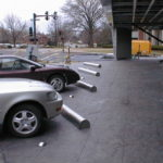 stainless steel parking stops and row markers at 8301 maryland ave