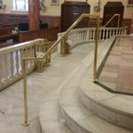 Bronze finish hand rail for steps
