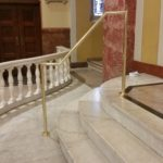 Bronze handrail at St. Ambrose Church in St. Louis